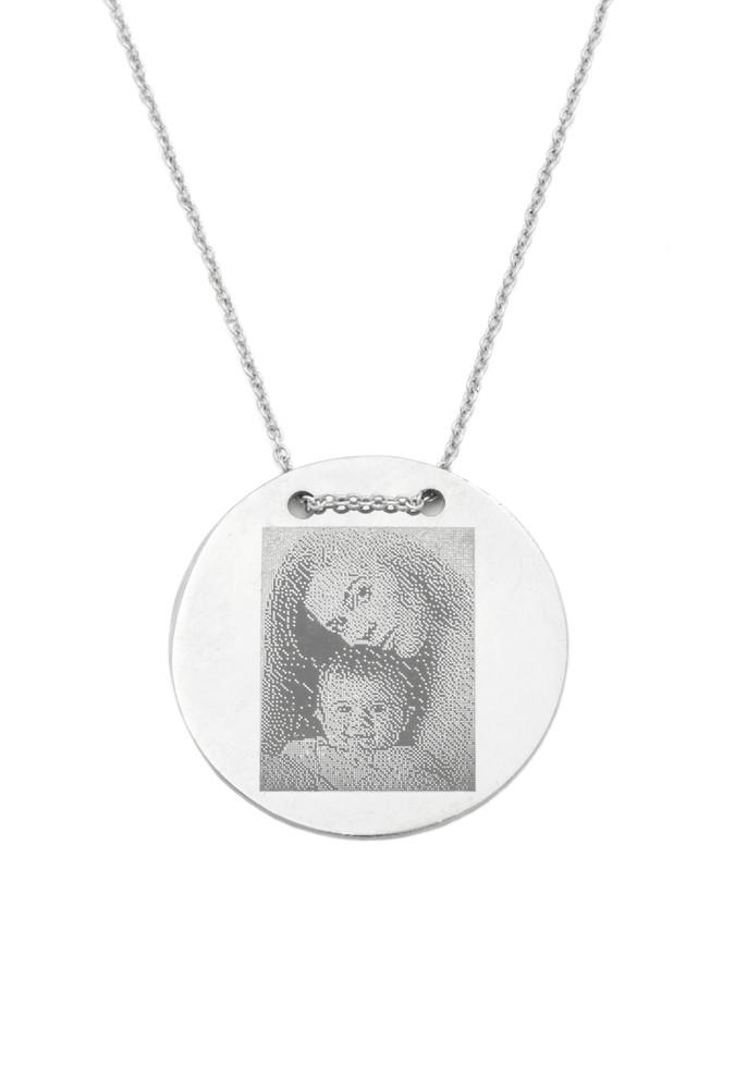 Halskette MIT GRAVUR 'Foto' Gravurplatte 2,5 cm Medaillon