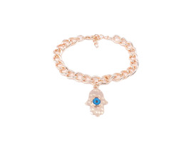 Armband mit Fatimas Hand und Blauem Auge - Rosegold Farbe