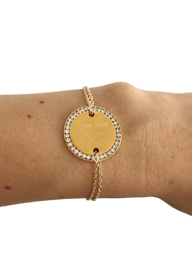 Remi Bijou Armband Mit Gravur Gravurplatte Münze Mit Strass Gold