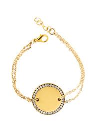 Remi Bijou Armband MIT GRAVUR Gravurplatte Münze mit Strass - Gold Farbe – Bild 2