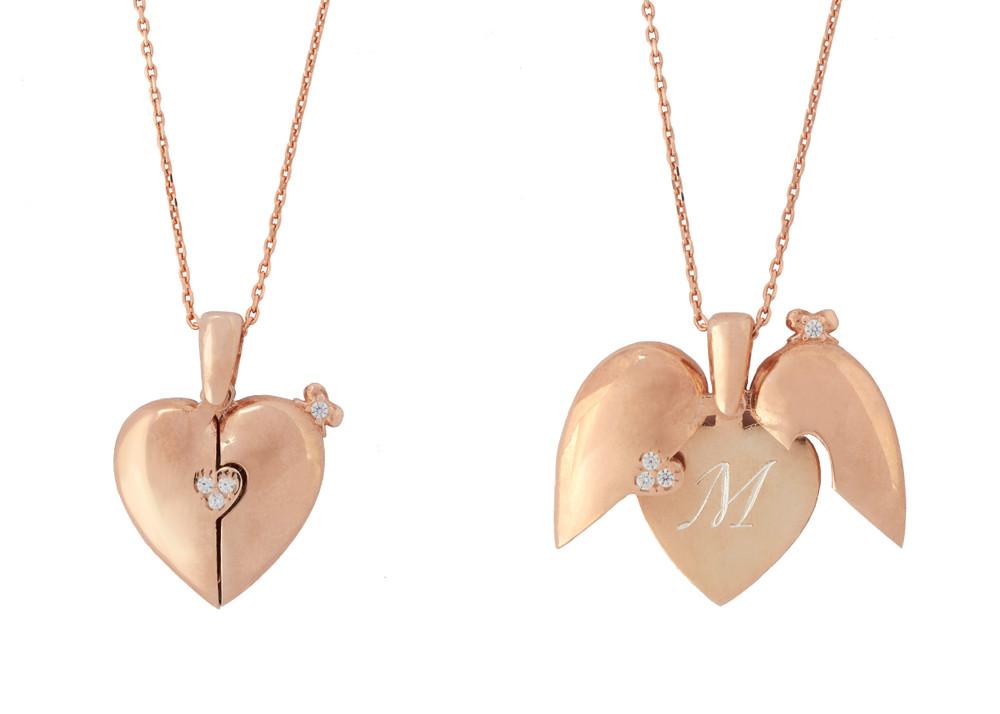 925 Sterling Silber Halskette MIT GRAVUR - Herz Rosegold aufklappbar