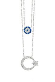 925 Sterling Silber Zweilagige Halskette Blaues Auge Mond Stern Ay Yildiz – Bild 1
