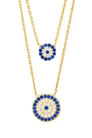 """925 Sterling Silber Zweilagige Halskette """"Blaues Auge"""" mit Zirkonia Steinchen - Gold Farbe – Bild 1"""