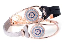 Armband 'Bangle' aus Samt mit Strasssteinen Nazar Boncuk Türkisches Auge – Bild 2