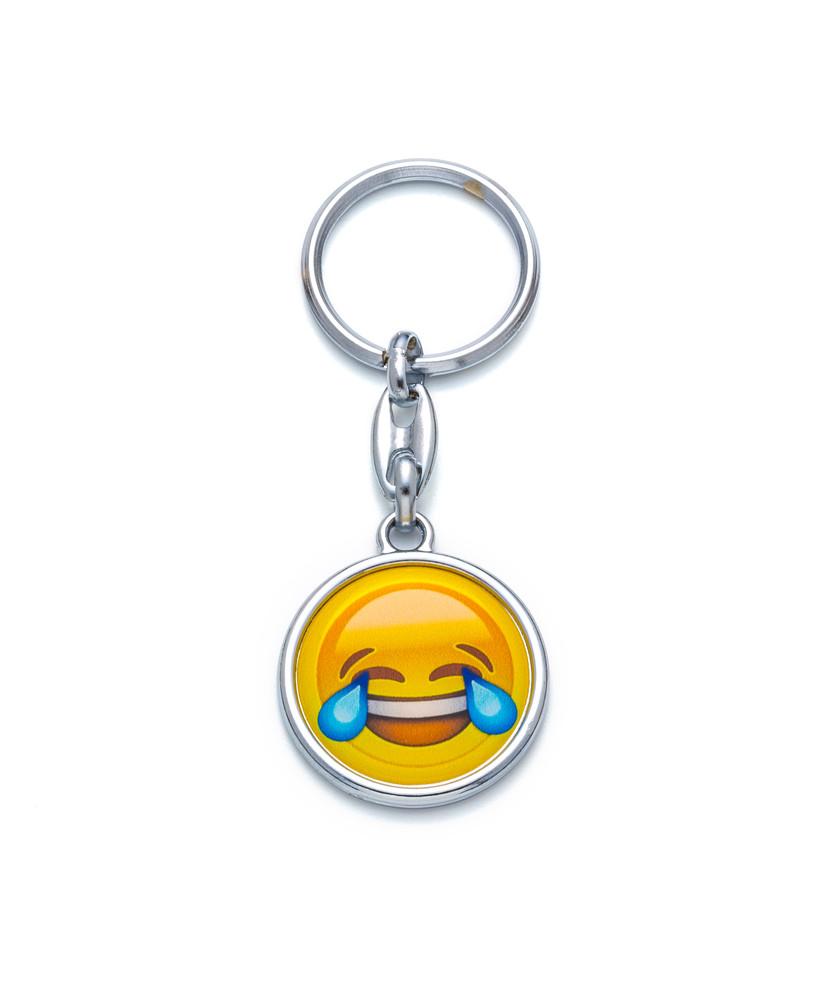 Schlüsselanhänger Emoji Smiley Gesicht mit Lachtränen Happy Face silberfarben