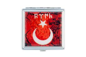 Gök-Türk Zigarettenetui Zigaretten Kasten  - Halbmond Ay Yildiz Ertugrul Alttürkisch Rot – Bild 2