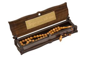 Gök-Türk Gebetskette - Kuka Tesbih mit Schatulle mit IHRER GRAVUR Braune 33 Perlen aus Holz – Bild 1