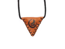 "Gök-Türk Halskette ""Muska"" aus echtem Leder Wolf mit Mond - Braun – Bild 1"