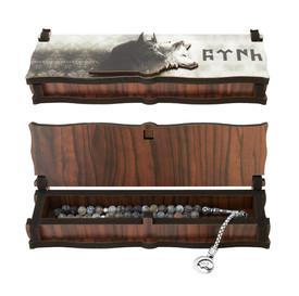 """Gök-Türk Box Schatulle MIT GRAVUR aus Holz Handgemacht & Tesbih Gebetskette """"2 Wölfe"""" Bozkurt Alttürkisch – Bild 3"""