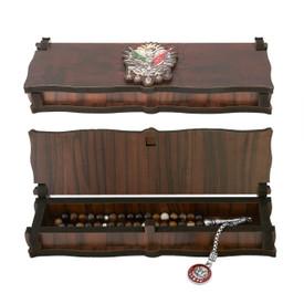 """Gök-Türk Box Schatulle MIT GRAVUR aus Holz Handgemacht & Tesbih Gebetskette """"Wappen Osmanisches Reich"""" Tugra Abdulhamid 33 Perlen – Bild 3"""