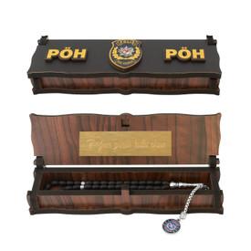 "Gök-Türk Box Schatulle MIT GRAVUR aus Holz Handgemacht & Tesbih Gebetskette ""PÖH Polis Özel Harekat"" 33 Perlen – Bild 1"