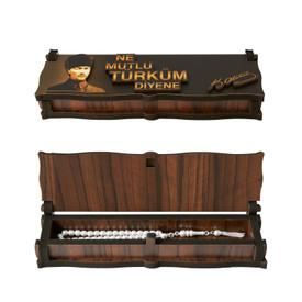 "Gök-Türk Box Schatulle MIT GRAVUR aus Holz Handgemacht & 925 Silber Tesbih Gebetskette ""Mustafa Kemal Atatürk"" 33 Perlen – Bild 6"