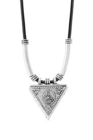 """Gök-Türk Halskette """"Muska"""" silberfarben mit schwarzer Schnur """"Tugra"""" – Bild 1"""