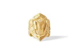 """Gök-Türk Ring für Herren """"IYI"""" Ertugrul Halbmond Ay Yildiz - verstellbare Größe - goldfarben – Bild 1"""