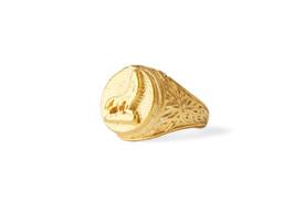 """Gök-Türk Ring für Herren """"Wolf"""" Bozkurt - verstellbare Größe - goldfarben – Bild 1"""