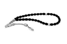 """Gök-Türk Gebetskette - Tesbih 33 Perlen Tasbih """"Cukur"""" Türkisch schwarz silberfarben – Bild 1"""