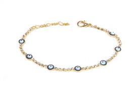 Remi Bijou - elegantes Armband Armkette Armreif - blaues Auge Nazar Boncuk Zirkonia Strass (Gold) – Bild 3