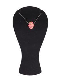 925 Silber Halskette 'Fatimas Hand' - Opal, rosa – Bild 2