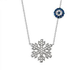 925 Sterling Silber Elegante Halskette 'Schneeflocke' - blaues Auge, Zirkonia Strass – Bild 1