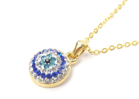 Halskette 'Blaues Auge' - goldfarben, Zirkonia Strass  – Bild 1