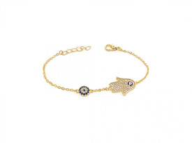 Armband Fatimas Hand - Gold Farbe Bblaues Auge Nazar Boncuk Evil Eye