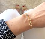 Armband Infinity Unendlichkeit Ewige Liebe blaues Auge Gold Farbe 001