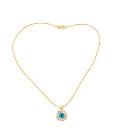 """Böser Blick"" Halskette - rundes, blaues Auge, goldfarben – Bild 2"