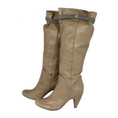 kniehohe Stiefel Fornarina beige grey Gr. 41 Damen Schuhe Boots Stiefelette Bea 001