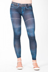 Legging Jeansblau FREE FOR HUMANITY Leggins Girls BIKERY Blau Jeanslook S M L 001