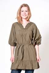 Cristina Gavioli Tunika Bluse Art. 6287 Hemd Damen Girls Khaki Militare NEU 001