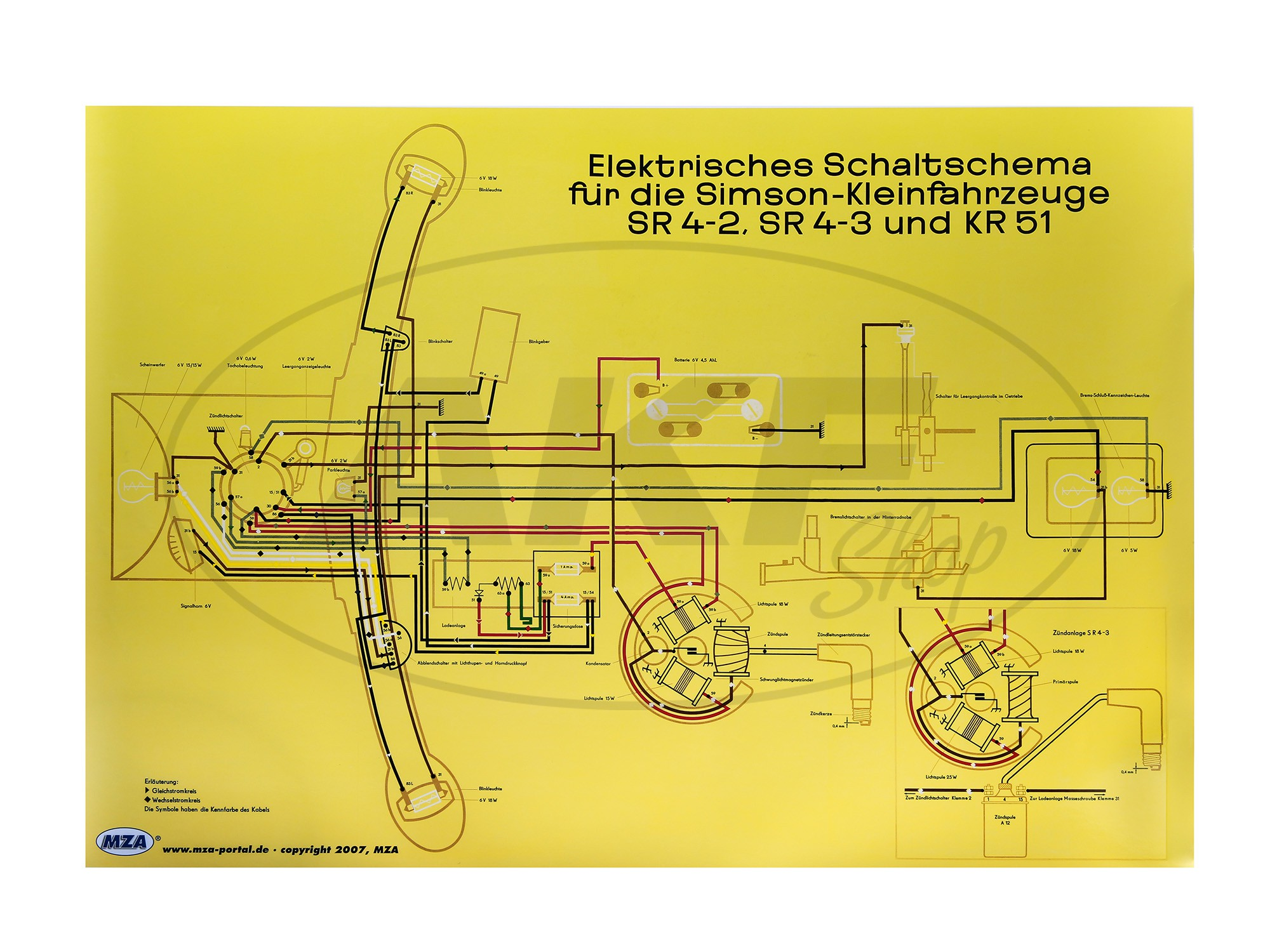 Schaltplan Farbposter (72x50cm) Simson Star SR4-2, Sperber SR4-3 ...
