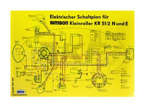 Item Image Wiring diagram colorposter (69x49cm) Simson Schwalbe KR51 / 2 N and E