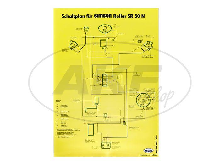 Schaltplan Farbposter (40x57cm) Simson SR50 N