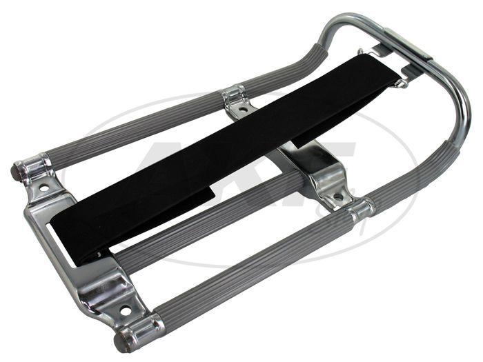 Gepäckträger KR, grau/chrom mit Haltegummi (alte Ausführ.) - Bild #1