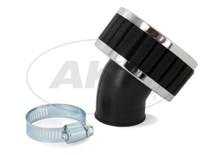 Luftfilter Sport schwarz/chrom-look 45° Winkel / 32mm Winkel passend für alle Mopeds