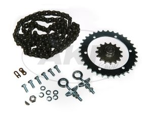 Item Image Set of drive parts SR2E (driving collar screwed, chain tensioner Ø12, chain, pinion 15 Z. etc.)