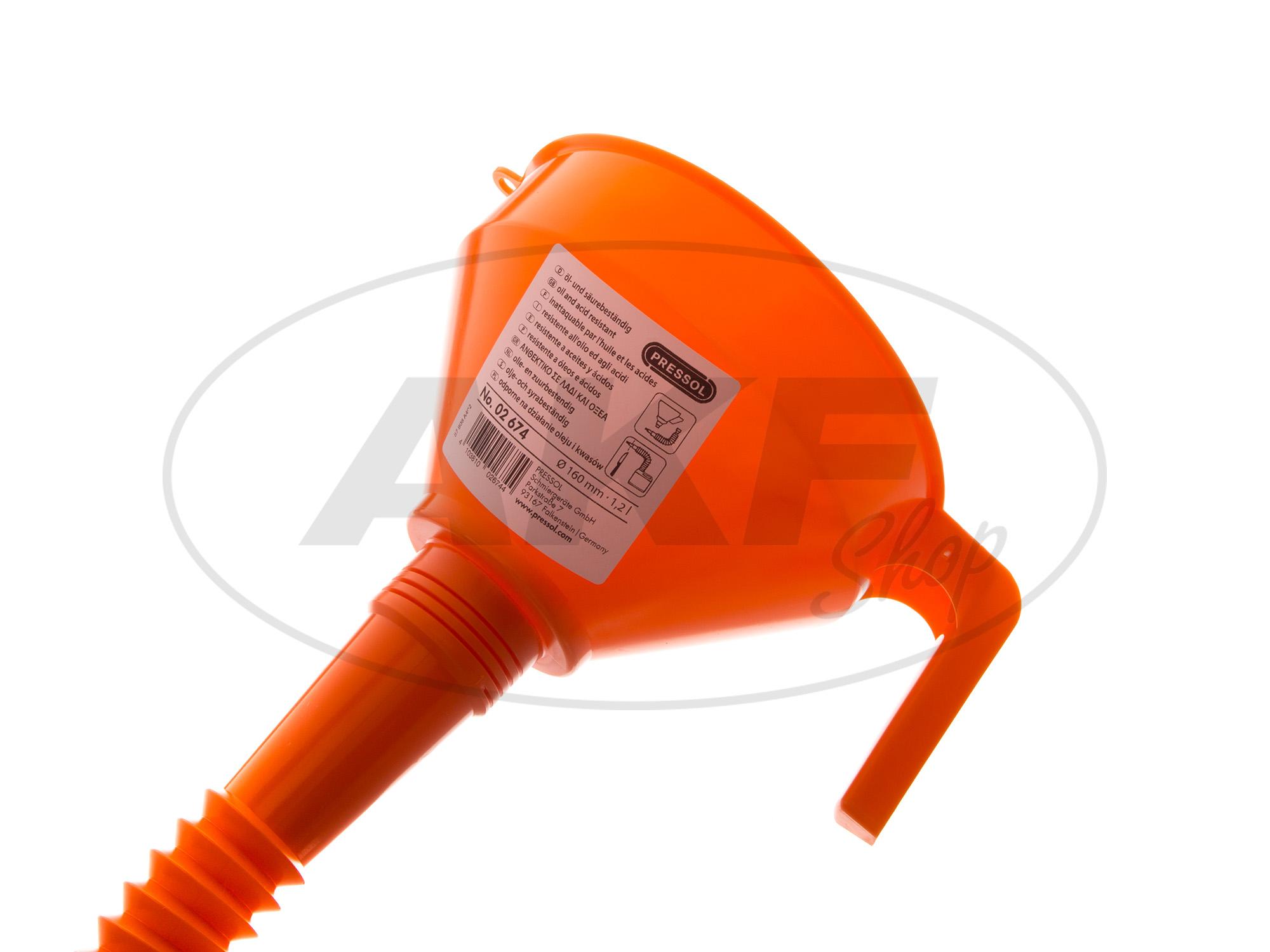 trichter mit sieb orange und flexiblem schlauch. Black Bedroom Furniture Sets. Home Design Ideas
