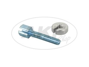 Item Image Set screw long, with knurled nut - M6x30 - slotted - f. Handlebar Controls (Bowden cables) - Overall length 40mm - Simson - MZ