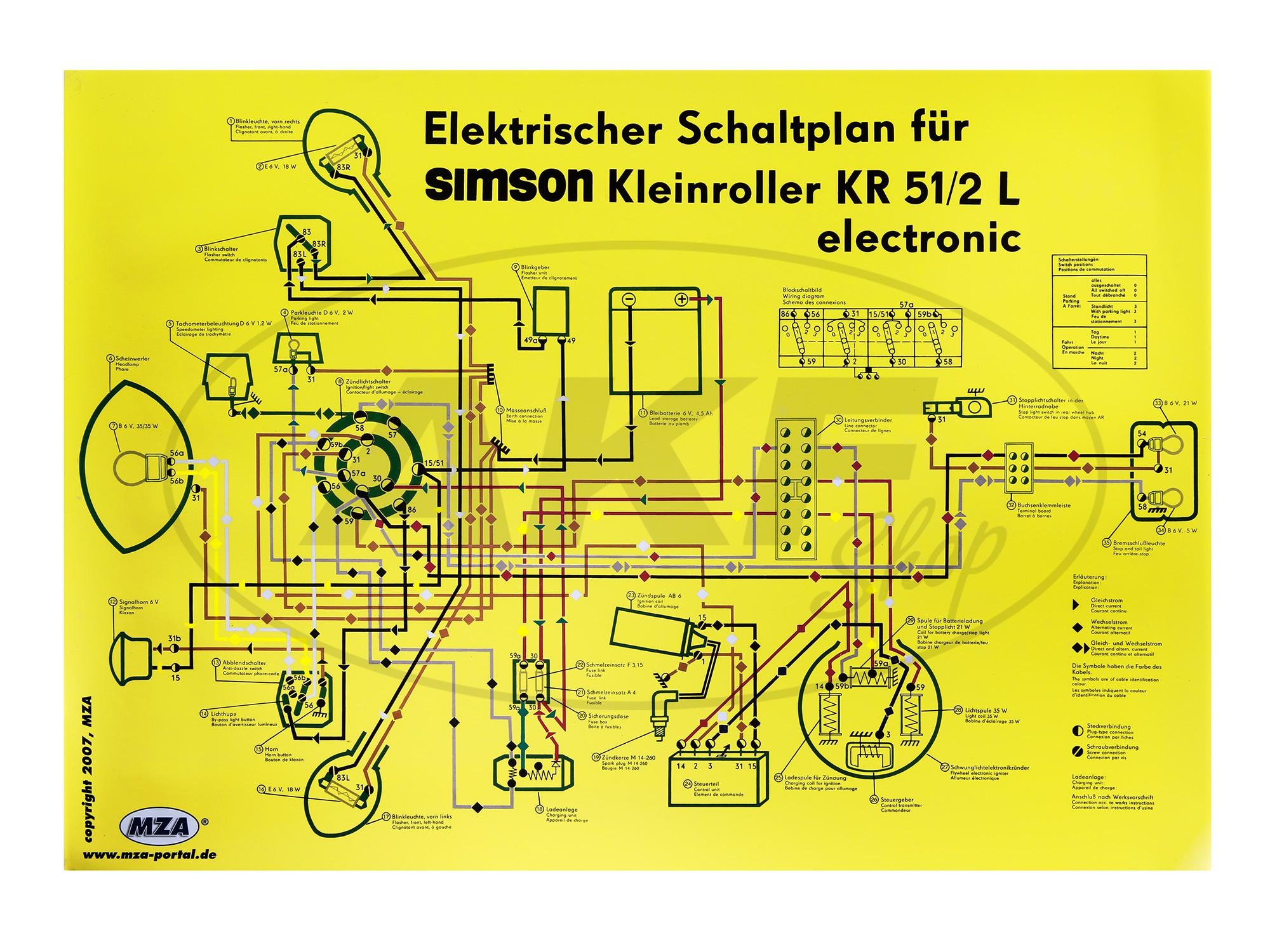 Schaltplan Farbposter (69x49cm) Schwalbe KR51/2L electronic ...