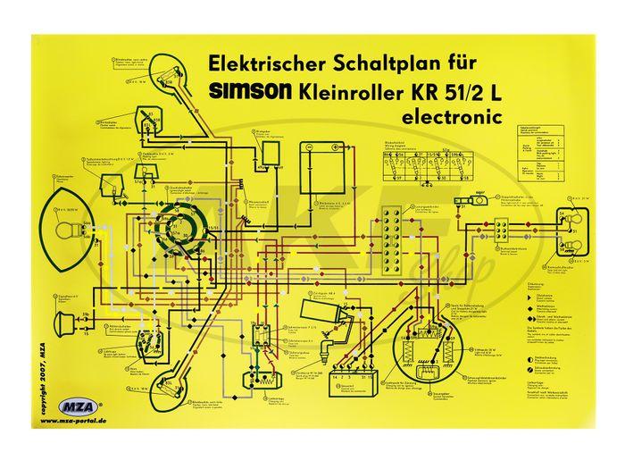 Schaltplan Farbposter (69x49cm) Schwalbe KR51/2L electronic (beidseitig Glanzcello, schmutzabweisend) - Bild #1