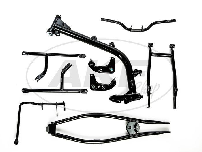 Set Fahrgestell (Rahmenbaugruppe mit Klein/Normteilen) verkehrsschwarz Simson S50, S51 - Bild #1