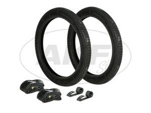 Item Image Set: 2x Tires 2.25 x 20 (2.25x16) Heidenau M3 profile + 2x tubes + 2x rim tape