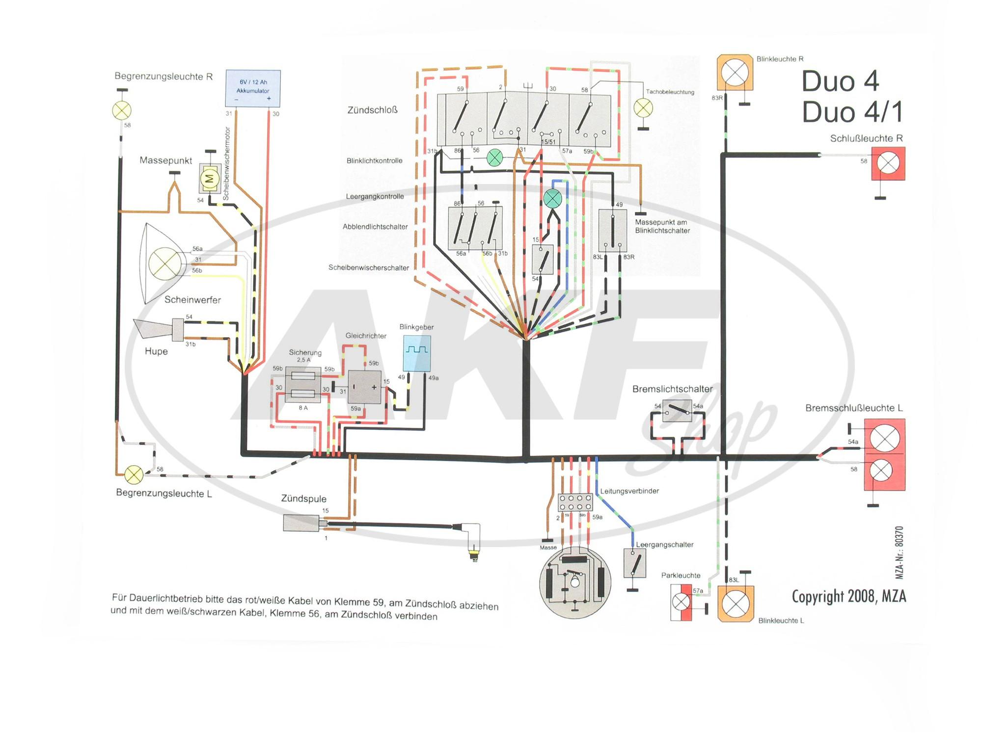 Kabelbaumset Duo 4/1 , inklusive Schaltplan