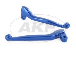 Set: Handhebel - Aluminium massiv, Brems- und Kupplungshebel - Blau - Simson S50, S51, S53, SR50, KR51/2 Schwalbe -  Bild 1
