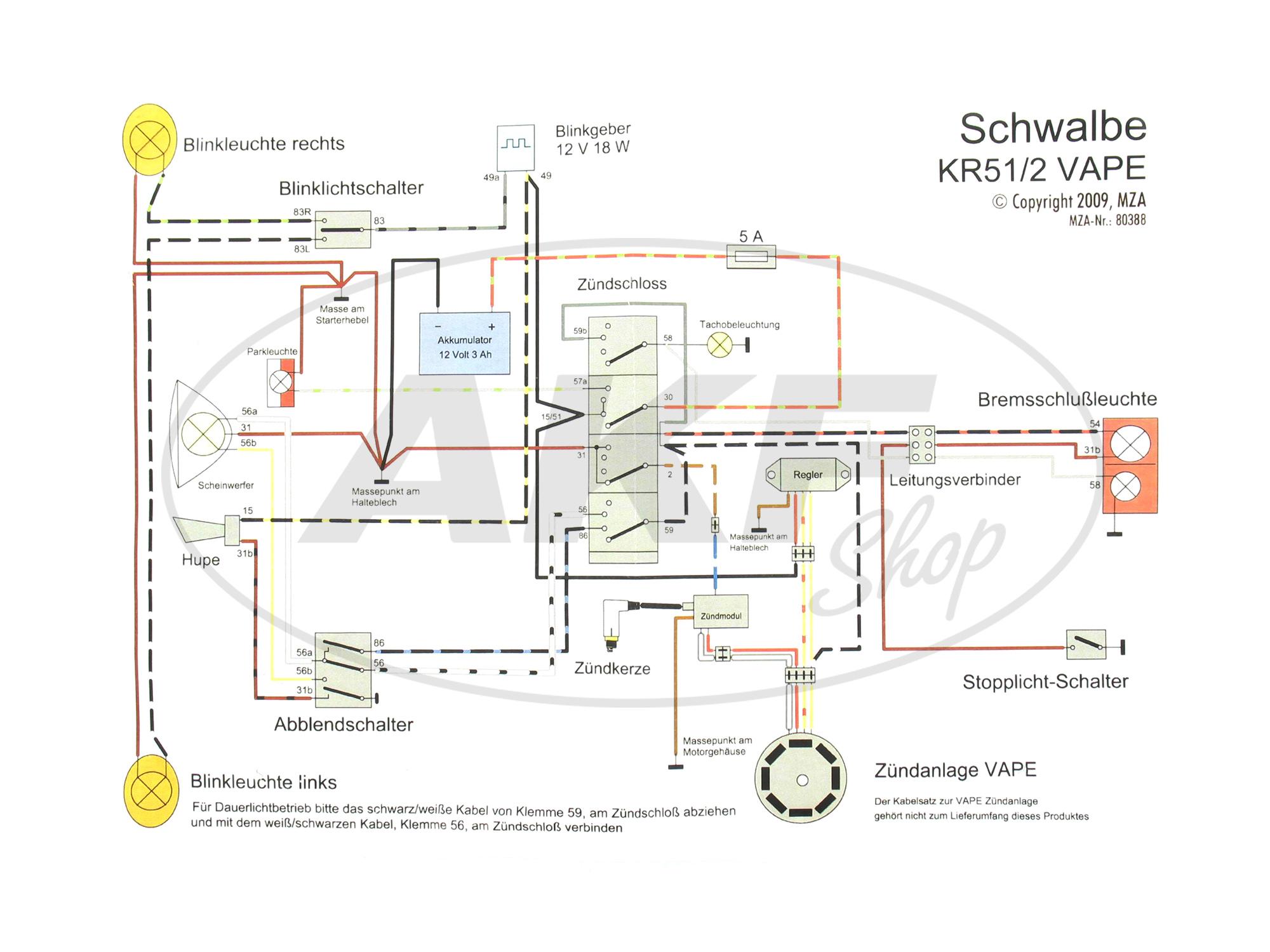 Kabelbaumset Schwalbe KR51/2, 12V-VAPE mit Schaltplan