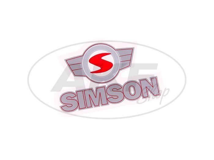 """Klebefolie - """"SIMSON"""" - Schriftzug - und Emblem in Rot/Silber - Bild #1"""