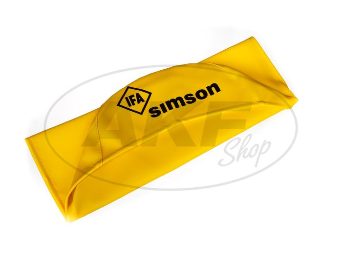Seat cover smooth, yellow with SIMSON-lettering - Simson S50, S51, S70, KR51 / 2 Schwalbe, SR4-3 Sperber, SR4-4 Habicht - Image #1
