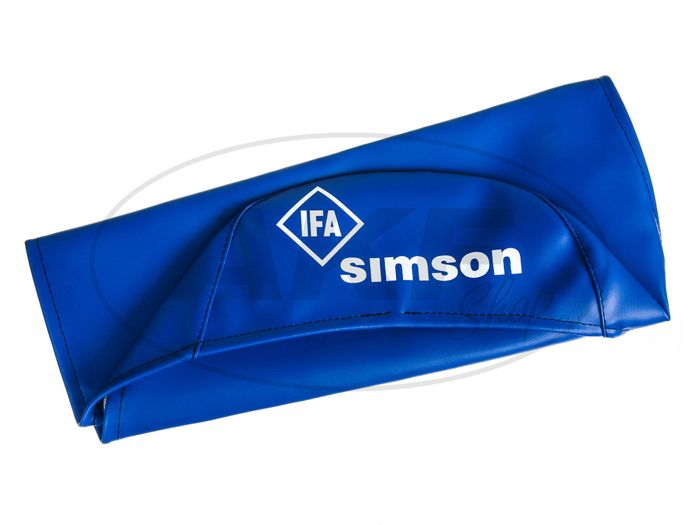 Seat cover, smooth, blue with SIMSON-lettering - Simson S50, S51, S70, KR51 / 2 Schwalbe, SR4-3 Sperber, SR4-4 Habicht - Image #1