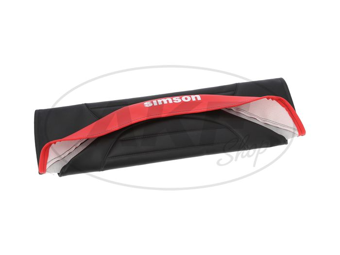 Seat cover textured, black / red with SIMSON logo - Simson S53, S83, SR50, SR80 - Image #1