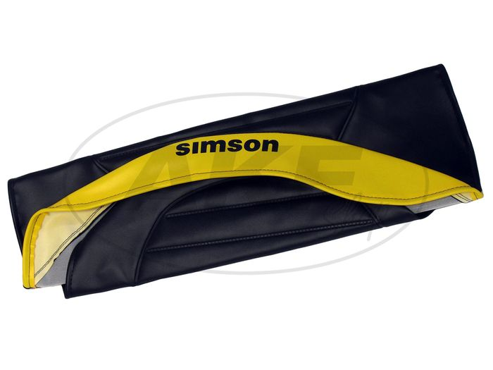 Seat cover textured, black / yellow with SIMSON logo - Simson S53, S83, SR50, SR80 - Image #1